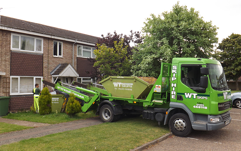Domestic skip being delivered