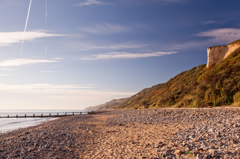 Cromer beach in the morning sun. One of Norfolk's 6 Blue Flag beaches.