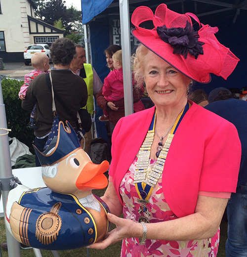 Ducky with President of the Rotary Club Diana Loveland