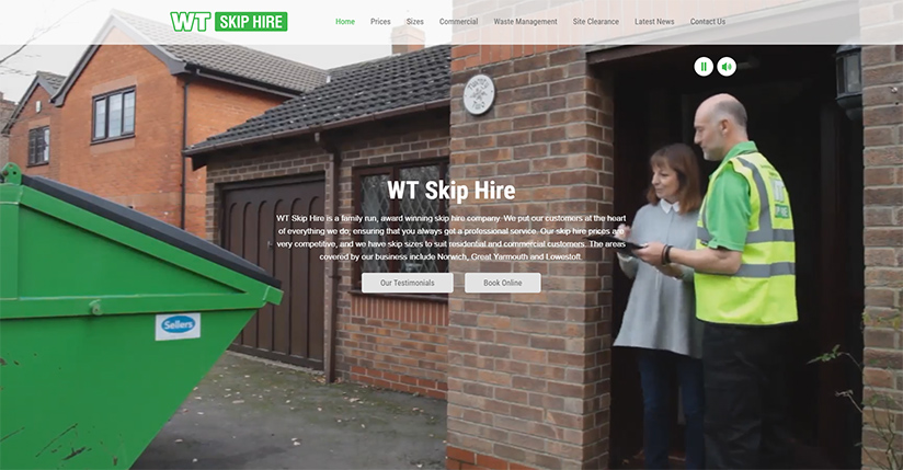 New WT Skip Hire website homepage