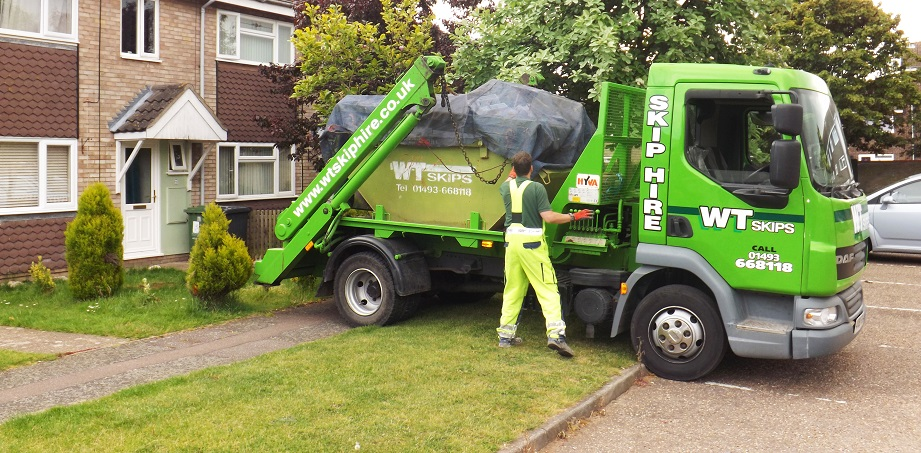 One of our skips being collected.