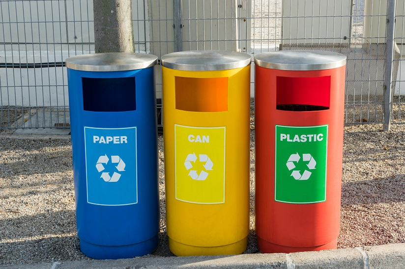 Plastic, paper and cans recycling bins.