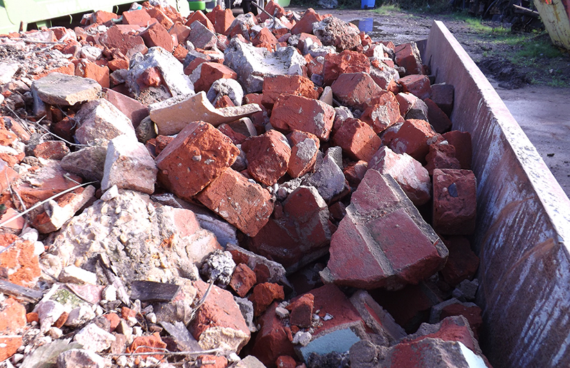 Rubble in a skip