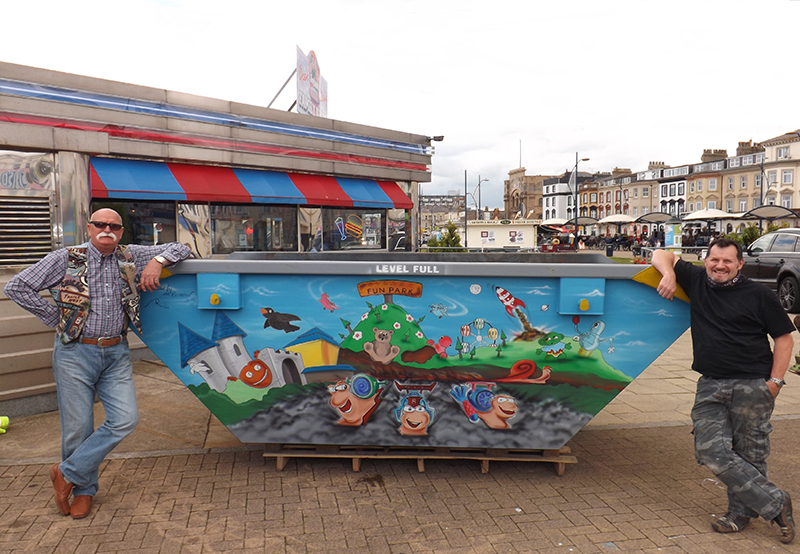 Mik and Wally with completed Joyland skip