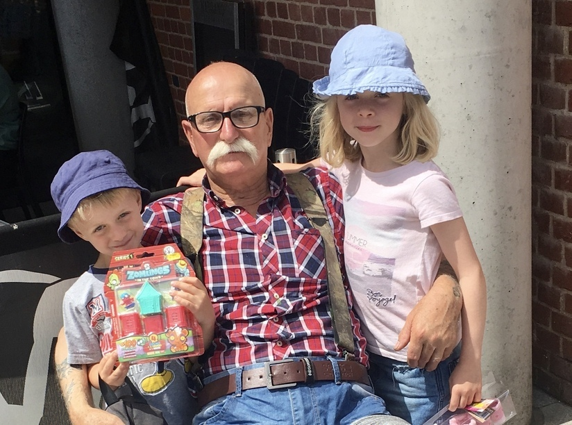 Wally with grandchildren