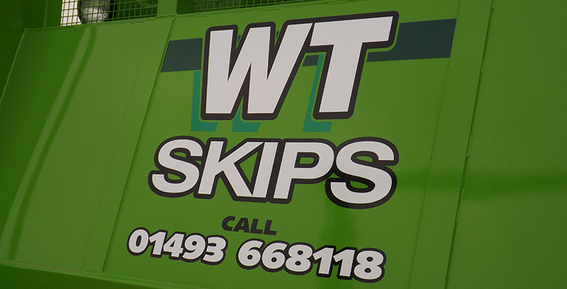 WT Skip Hire branding on delivery vehicle