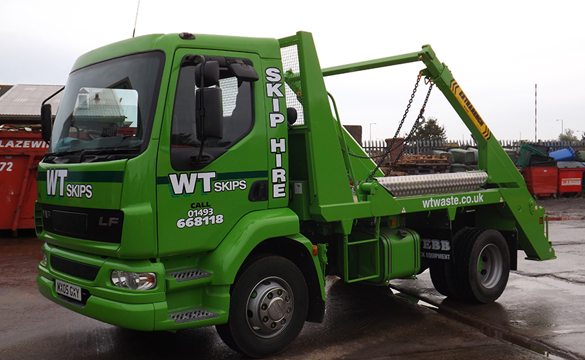 WT Skip Hire lorry